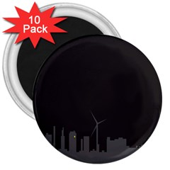 Windmild City Building Grey 3  Magnets (10 pack)