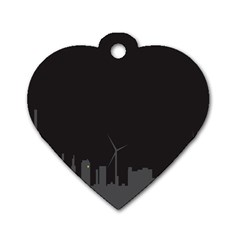 Windmild City Building Grey Dog Tag Heart (Two Sides)