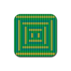 Pattern Grid Squares Texture Rubber Square Coaster (4 Pack)