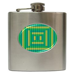 Pattern Grid Squares Texture Hip Flask (6 oz)
