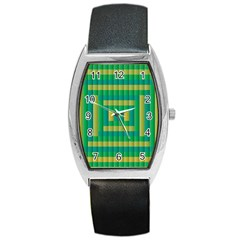 Pattern Grid Squares Texture Barrel Style Metal Watch