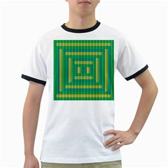 Pattern Grid Squares Texture Ringer T-Shirts