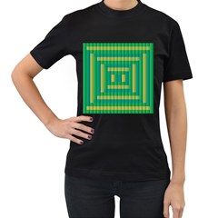 Pattern Grid Squares Texture Women s T-Shirt (Black) (Two Sided)