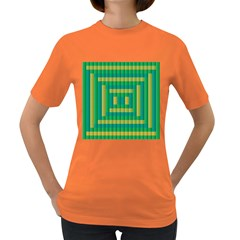 Pattern Grid Squares Texture Women s Dark T-Shirt