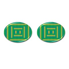 Pattern Grid Squares Texture Cufflinks (oval)