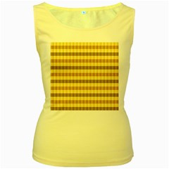 Pattern Grid Squares Texture Women s Yellow Tank Top