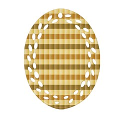 Pattern Grid Squares Texture Oval Filigree Ornament (Two Sides)