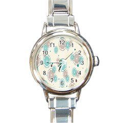 Small Circle Blue Brown Round Italian Charm Watch