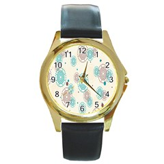 Small Circle Blue Brown Round Gold Metal Watch