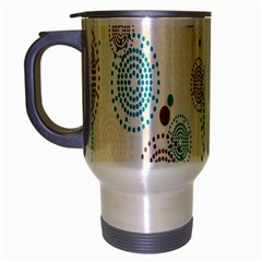 Small Circle Blue Brown Travel Mug (Silver Gray)