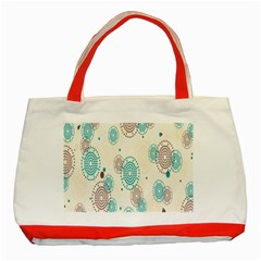Small Circle Blue Brown Classic Tote Bag (Red)