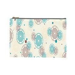 Small Circle Blue Brown Cosmetic Bag (Large)