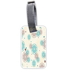 Small Circle Blue Brown Luggage Tags (One Side)