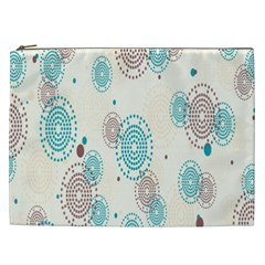 Small Circle Blue Brown Cosmetic Bag (XXL)