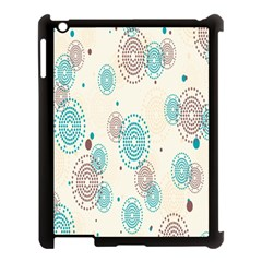 Small Circle Blue Brown Apple iPad 3/4 Case (Black)