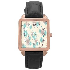 Small Circle Blue Brown Rose Gold Leather Watch