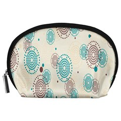 Small Circle Blue Brown Accessory Pouches (Large)