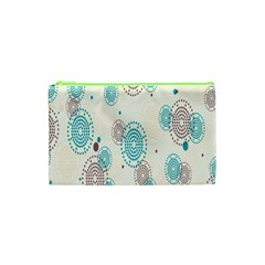 Small Circle Blue Brown Cosmetic Bag (XS)