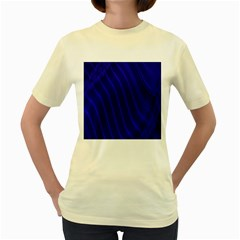 Sparkly Design Blue Wave Abstract Women s Yellow T-Shirt