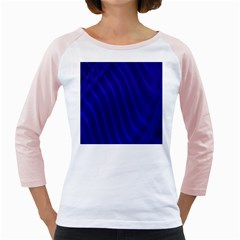 Sparkly Design Blue Wave Abstract Girly Raglans