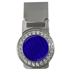 Sparkly Design Blue Wave Abstract Money Clips (CZ)
