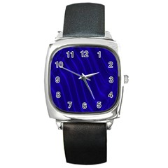 Sparkly Design Blue Wave Abstract Square Metal Watch