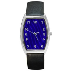 Sparkly Design Blue Wave Abstract Barrel Style Metal Watch