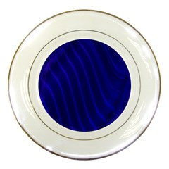 Sparkly Design Blue Wave Abstract Porcelain Plates