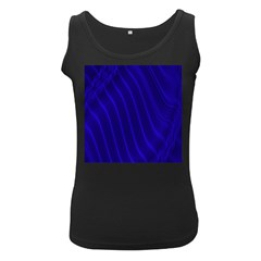 Sparkly Design Blue Wave Abstract Women s Black Tank Top