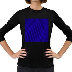 Sparkly Design Blue Wave Abstract Women s Long Sleeve Dark T-Shirts