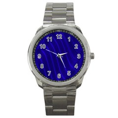 Sparkly Design Blue Wave Abstract Sport Metal Watch