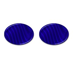 Sparkly Design Blue Wave Abstract Cufflinks (Oval)