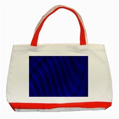 Sparkly Design Blue Wave Abstract Classic Tote Bag (Red)