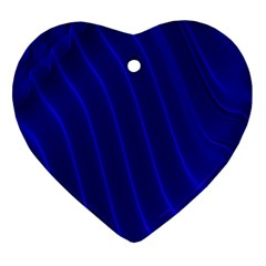Sparkly Design Blue Wave Abstract Heart Ornament (Two Sides)