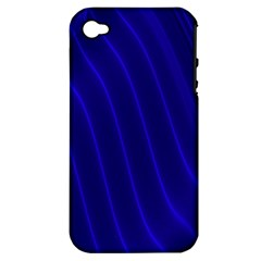 Sparkly Design Blue Wave Abstract Apple iPhone 4/4S Hardshell Case (PC+Silicone)