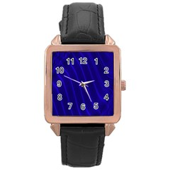 Sparkly Design Blue Wave Abstract Rose Gold Leather Watch