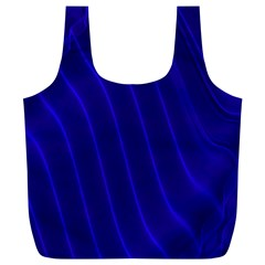 Sparkly Design Blue Wave Abstract Full Print Recycle Bags (L)