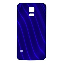 Sparkly Design Blue Wave Abstract Samsung Galaxy S5 Back Case (White)