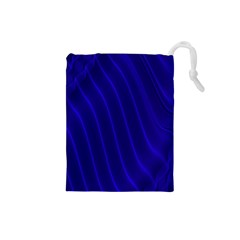 Sparkly Design Blue Wave Abstract Drawstring Pouches (Small)