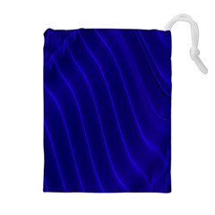 Sparkly Design Blue Wave Abstract Drawstring Pouches (Extra Large)