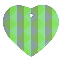 Squares Triangel Green Yellow Blue Ornament (Heart)