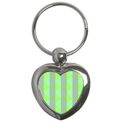 Squares Triangel Green Yellow Blue Key Chains (Heart)