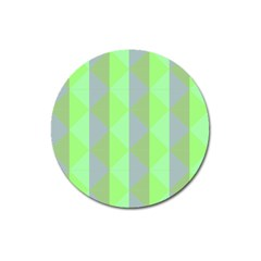 Squares Triangel Green Yellow Blue Magnet 3  (Round)