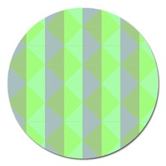 Squares Triangel Green Yellow Blue Magnet 5  (Round)
