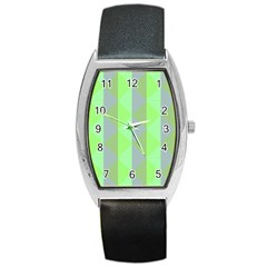 Squares Triangel Green Yellow Blue Barrel Style Metal Watch