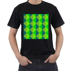 Squares Triangel Green Yellow Blue Men s T-Shirt (Black) (Two Sided)