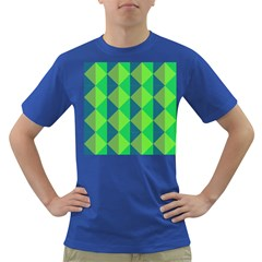 Squares Triangel Green Yellow Blue Dark T-Shirt