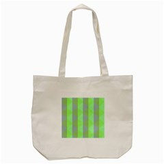 Squares Triangel Green Yellow Blue Tote Bag (Cream)