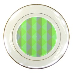 Squares Triangel Green Yellow Blue Porcelain Plates