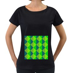 Squares Triangel Green Yellow Blue Women s Loose-Fit T-Shirt (Black)